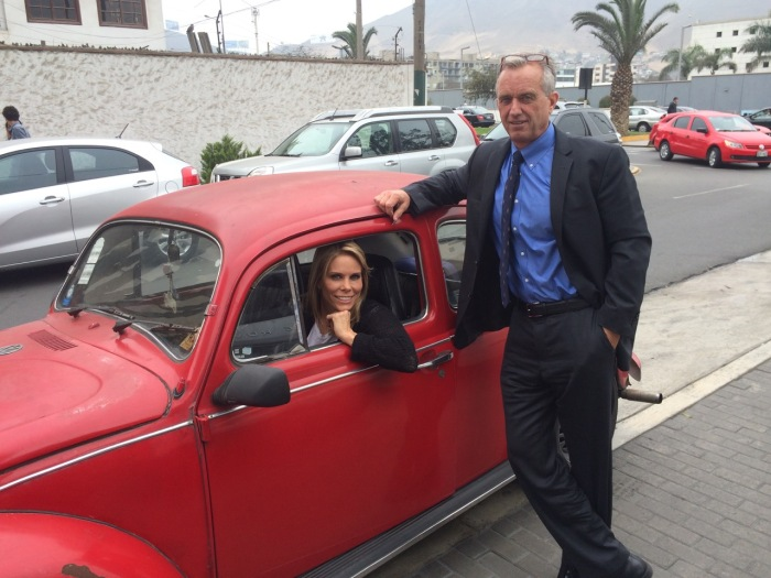 Traveling in style (we hastily gave Camote's Beetle a quick dusting when we realised Mr. Kennedy and actress Cheryl Hines would to travelling inside.)